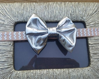 Peach and Silver FOE, Girls Headband, Baby Headband, Summer Headband, Birthday Headband, Shiny Silver Bow Headband, Silver Chevron, Toddler