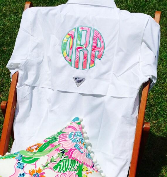 White monogrammed columbia pfg fishing shirt by for Monogrammed fishing shirts