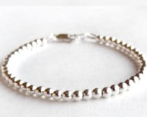 Sterling Silver Bead Bracelet - 4mm - Everyday Wear - Sterling Ball Bracelet - Simple Sterling Bracelet, Sterling Silver Jewelry