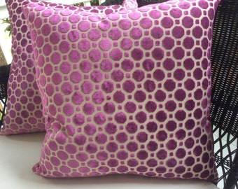 "Robert Allen Pillow Cover in Magenta ""Geo"" Design, Velvet Backing, 20x20"