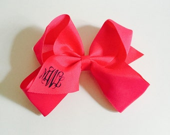 Monogram Girls HairBow - Bow with Clip - Initials - 6 inch