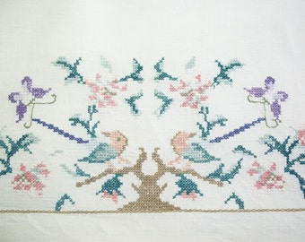 Linen Guest Towel Cross Stitched with Birds, Tree, Butterflies