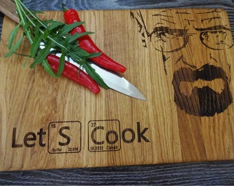 "LET'S COOK, Breaking Bad-  Handmade, Lazer Engraved Cutting Board 8x13"" or 10 x 15"" or 12x15"". Ideal gift for wedding . Choping block"