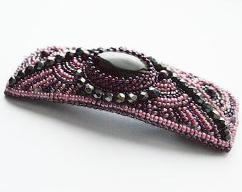 Hair Barrette, Purple black silver beaded hair pin agate cabochon, Handmade Hair Barrette, seed bead barrette bead jewelry hair accessories