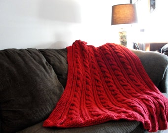 Hand Knit Braided Cable Throw / Blanket / Afghan - Cranberry Red