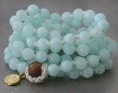 Mala Beads, Aqua Jade, Prayer Beads, Long Beaded Necklace, Gold Vermeil, Sterling Silver Charm, Elephant, Om, Lotus, Leaf, Spiritual, Yoga