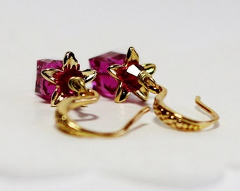 24K Gold Plated Swarovski Cube Bicone Flower Earring,Elegant Earrings,Birthday Gifts,Bridal Gifts,Bridesmaid Gifts,Gifts Under 25 Dollar