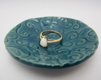 Ring Dish - Clay Jewelry Holder - Round Imprinted Trinket Dish - READY TO SHIP - Clay Sink Side / Bed Side Ring Dish - Gift Packaged
