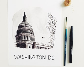 8x10 Washington, DC Watercolor Print