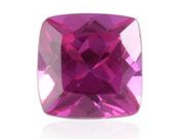 Pink Sapphire Synthetic Lab Created Loose Gemstone Cushion Cut 1A Quality 6mm TGW 1.20 cts.