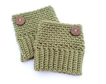 Army Green Boot Cuffs, Crochet Boot Toppers for Women or Teens, Warm Winter Boot Cuffs, Fashionable Boot Socks