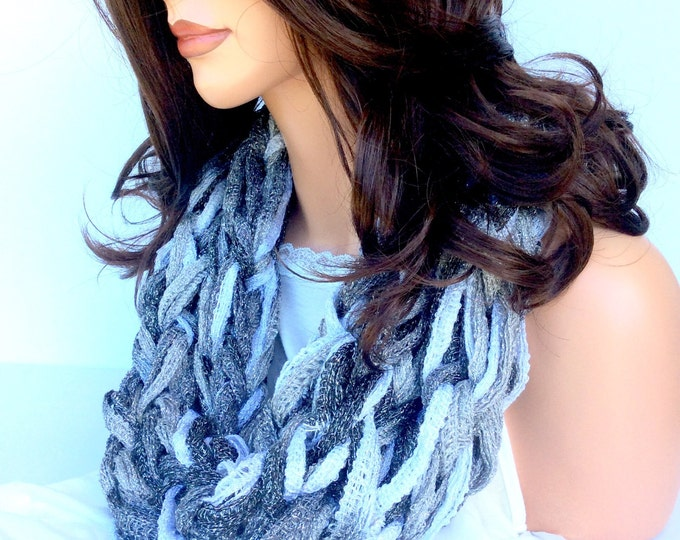 Silver Grey and White Metallic Sparkle Women's Infinity Scarf