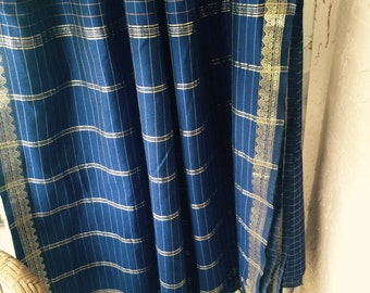 Vintage Indian blue cotton sari- fabric