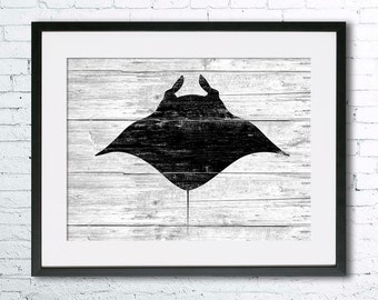 Manta ray art illustration print, Manta ray art, Sea life,Nautical, Wall art,Rustic Wood,Ocean art,Animal print,Home Decor,Animal silhouette