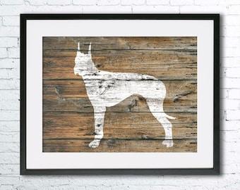 Great Dane art illustration print, Great Dane painting ,dog illustration, Wall art, Rustic Wood art, Animal art, dog art, art print