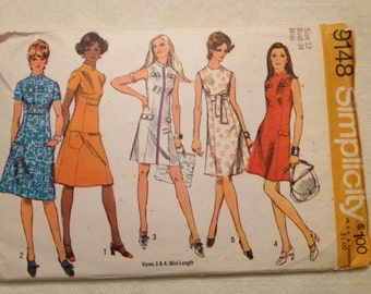 1970 Simplicity pattern # 9148 Misses size 12 Dress