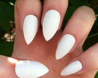 Stiletto nails, matte nails, white matte, fake nails