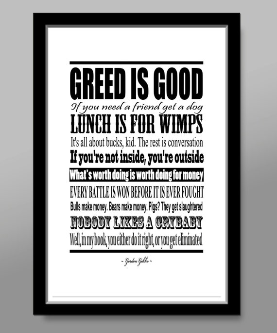 Wall Street Quotes: Wall Street // Gordon Gekko Quote Poster Print 320 Home