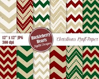 80% OFF SALE Christmas Kraft Paper, Kraft Chevron, Christmas Chevron, Christmas Patterns, Brown Paper, Printable, Commercial Use