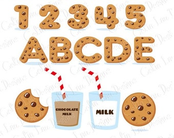 Cookies Font Digital Clip Art / Cookies Alphabet and number Clipart / Cookies and Milk Birthday Party (CG175)
