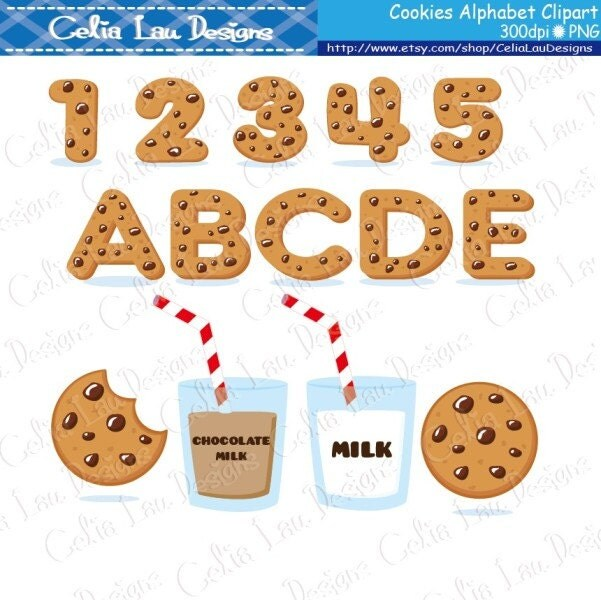 Cookies Font Digital Clip Art / Cookies Alphabet And Number
