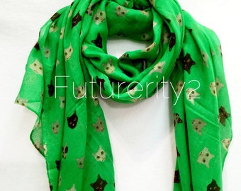 Cat Kitty Faces Apple Green Spring Summer Scarf / Autumn Scarf / Gifts For Her / Women Scarves / Accessories
