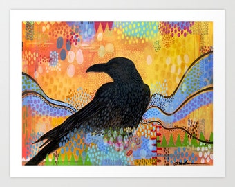 Colorful Raven Print, Fine Art Giclee of a Raven on a Colorful Background, Raven in Solstice