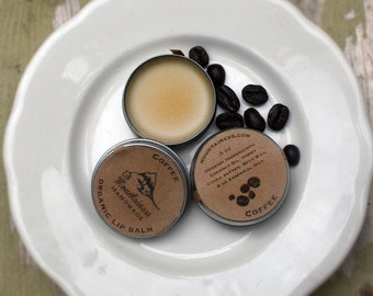 organic lip balm / Coffee Organic Lip Balm / organic caffeinated lip balm / Maine Balm / coffee gift / caffinated lipbalm / coffee caffeen