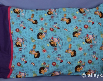 Pillowcase Made with Dora the Explorer Fabric, Standard Size, Cotton