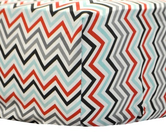 75% OFF!!!  Cotton Chevron Paprika Chevron Crib Sheet | Red, Black, Gray, Aqua for Boys