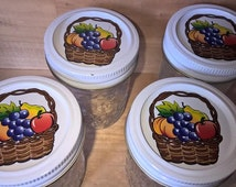 FREE SHIPPING-Set of 4 - Quilted Jam & Jelly Jars w/ Basket of Fruit on Lids-Canning Jars-Craft Supply Jars