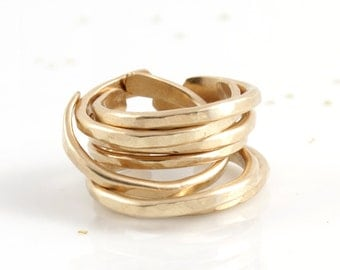 Hammered Gold Ring, Gold Stacking Ring, Adjustable Ring, Stacking Rings, Simple Gold Ring, Gold Band