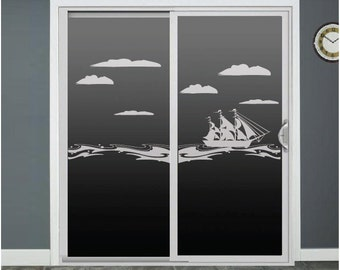 Sailboat Ocean Waves Glass Door Decals Sliding Door Decal Window Decal Door Stickers