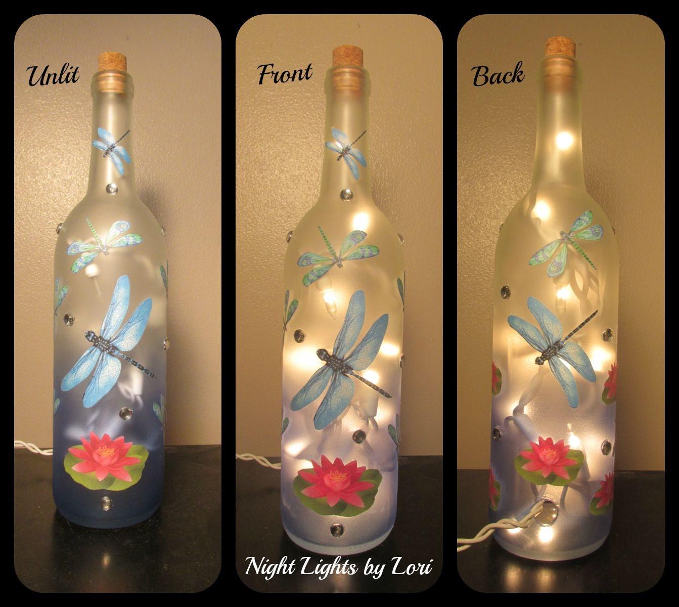 Dragonfly wine bottle night light blue decor lamp lighting for Light up wine bottles