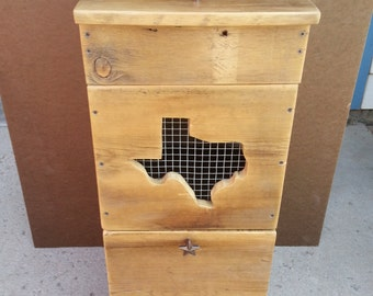 Rustic reclaimed wooden potato and onion storage bin Texas style. This is a SPECIAL ORDER ITEM