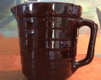 USA POTTERY Vintage Brown Glazed POTTERY Pitcher, Ceramic