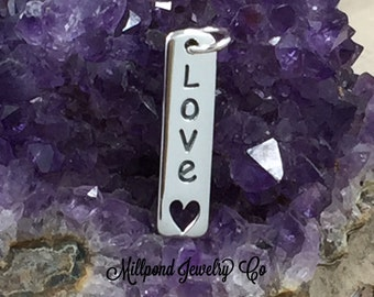 Love Charm, Love Tag, Sterling Silver Charm, Sterling Silver Love Tag, Sterling Silver Vertical Love Tag with Heart, PS01400