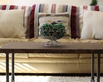 Espresso Rustic Industrial Coffee Table, Rustic Home Decor, Rustic Furniture, Industrial Furniture, Industrial Coffee Table, Wood Table