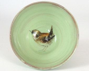 Bird - Handmade green wren  medium cereal  bowl