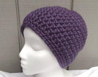 Crochet beanie - Womens purple hat - Chunky purple beanie - Bulky knit beanie - Teens purple beanie