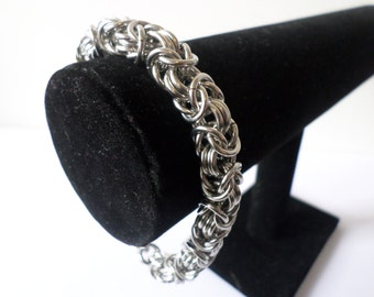 Chunky Stainless Steel Byzantine Chainmail Bracelet - 9mm Heavy Duty Chainmaille Bracelet