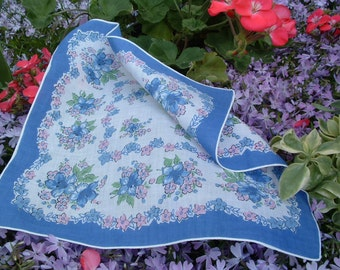 Vintage ladies handkerchief in periwinkle, pink, white and green. Perfect girly gift!