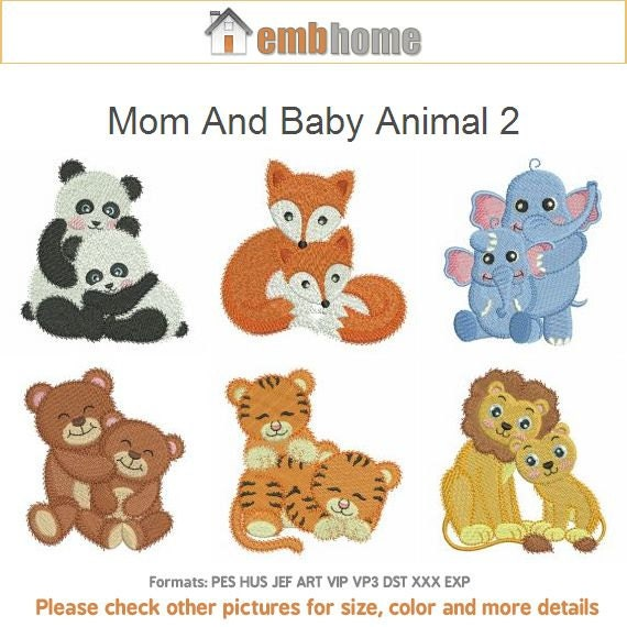 Mom and baby animal machine embroidery designs instant
