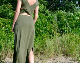 """Long Maxi Open Back Dress with Slits """"Aphrodite"""""""