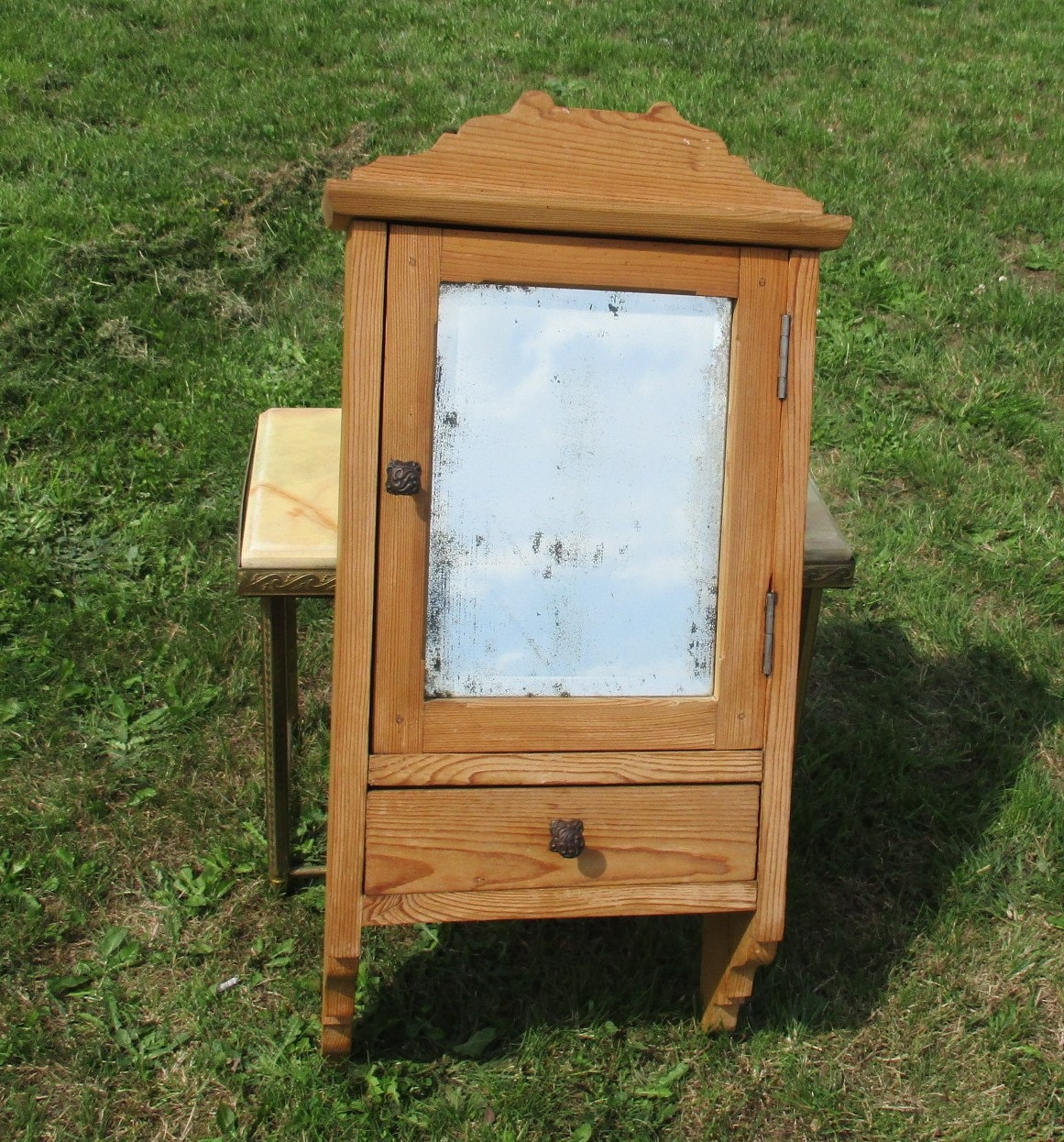 Superb img of Vintage Wooden Medicine Bathroom Cabinet Beveled Glass Mirror Drawer  with #A1802A color and 1161x1246 pixels