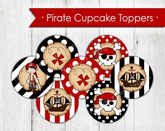 Pirate Cupcake Toppers - Instant Download