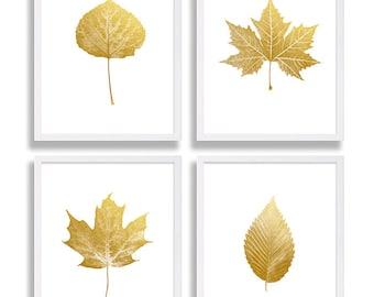 Four Faux Gold Foil Prints Leaf Art Prints Elegant Decor Living Room Art Modern Wall Art Maple Leaf Sycamore Elm Aspen Leaves Gold Print