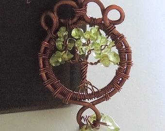 Peridot Copper Tree of Life Pendant