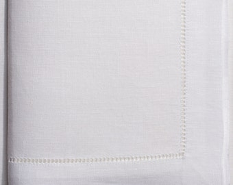 "25 hemstitch linen napkins in white color, 50x50 cm (20""x20"")"