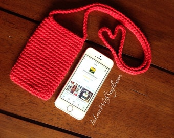 Cell Phone Case - Cell phone holder - Cell Phone Pouch   Crochet Cell Phone Case  Gift under 20